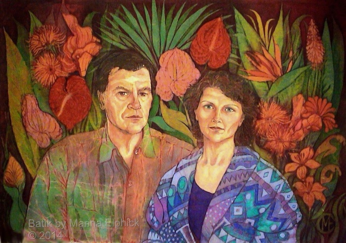 Batik art Portrait of my Parents by artist Marina Elphick. British batik artist known for her exquisite portraits in this classic Indonesian art medium