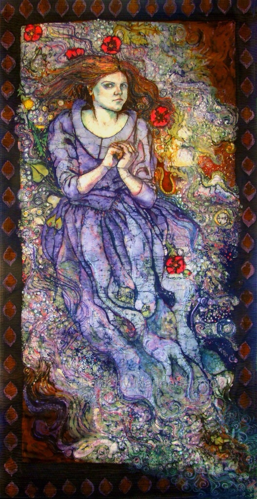 Batik Art.  Ophelia, self portrait by artist Marina Elphick. British batik artist known for her exquisite portraits in this classic Indonesian art medium.