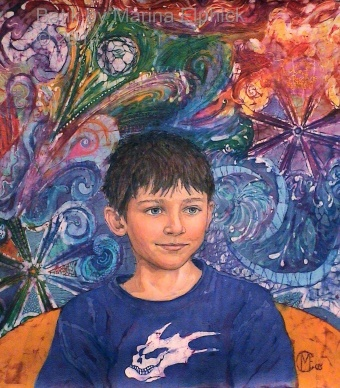 Batik art, portrait of Cain by artist Marina Elphick. British batik artist known for her exquisite portraits in this classic Indonesian art medium