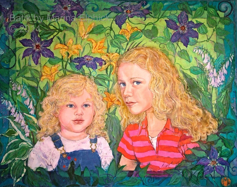 Phoebe and Emma, batik art portrait by Marina Elphick, UK batik artist known for her exquisite portraits of children in this classic Indonesian art medium.
