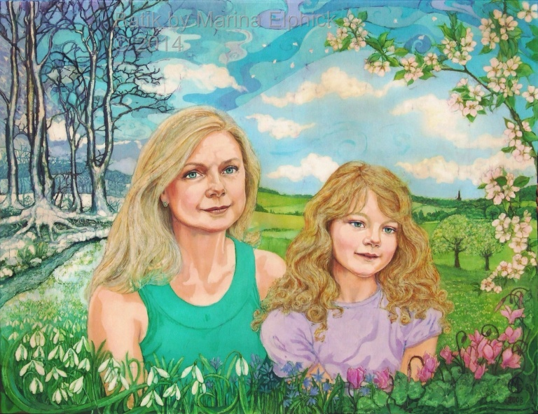 Batik art. Portrait of mother and daughter, Amanda and Lucy, by artist Marina Elphick. British batik artist known for her exquisite portraits in this classic Indonesian art medium