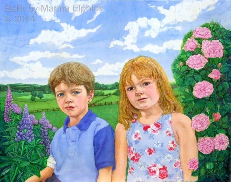 Portrait of brother and sister in batik by artist Marina Elphick. British batik artist known for her exquisite portraits of children in this classic Indonesian art medium.