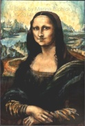 Batik copy of Mona Lisa by UK batik artist Marina Elphick. This was stolen from a batik exhibition in Bracknell
