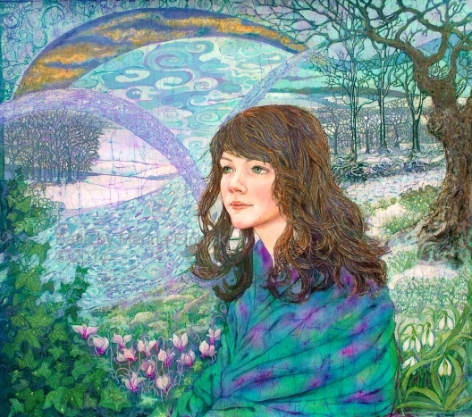 Batik portrait of Grace, winter muse, by batik artist Marina Elphick from the UK.