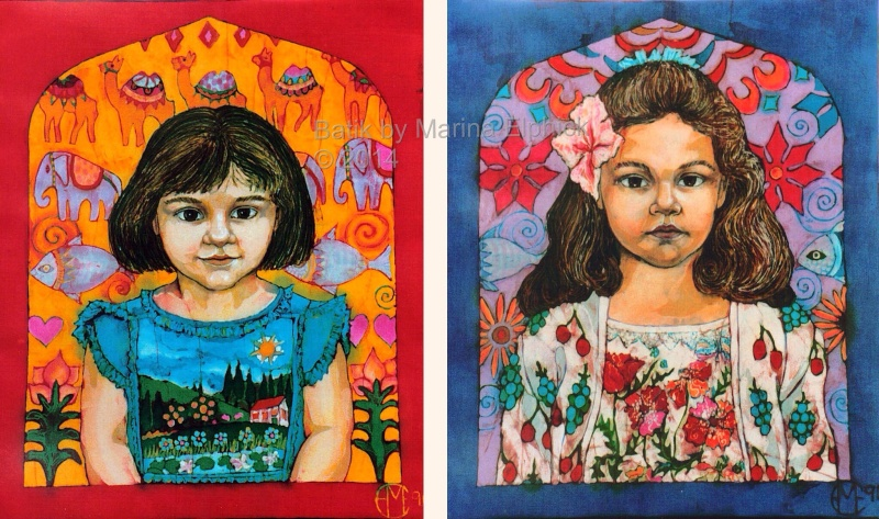 Portraits of children,  sisters Kera and Francesca pose in their favourite painted dresses.  Early batiks by UK artist Marina Elphick, specialist in batik portraiture.