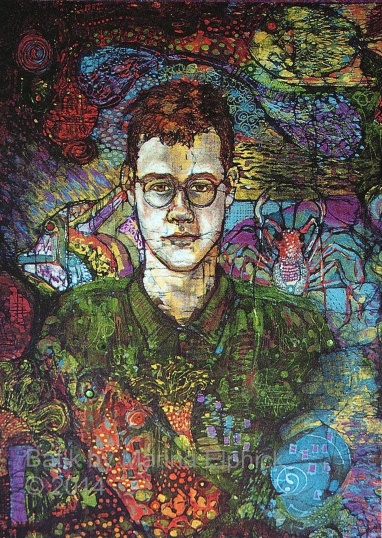 Batik art Portrait of Gavin by UK batik artist Marina Elphick, known for her vibrant and distinctive batik portraits.