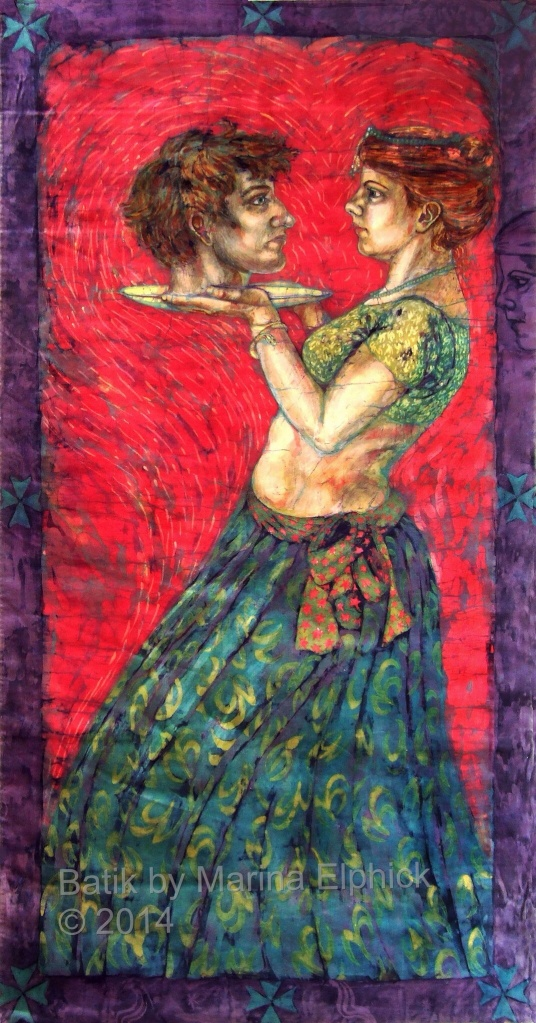 Batik art. Self Portrait by Marina Elphick with Howard as John the Baptist. Batik portrait by British artist.