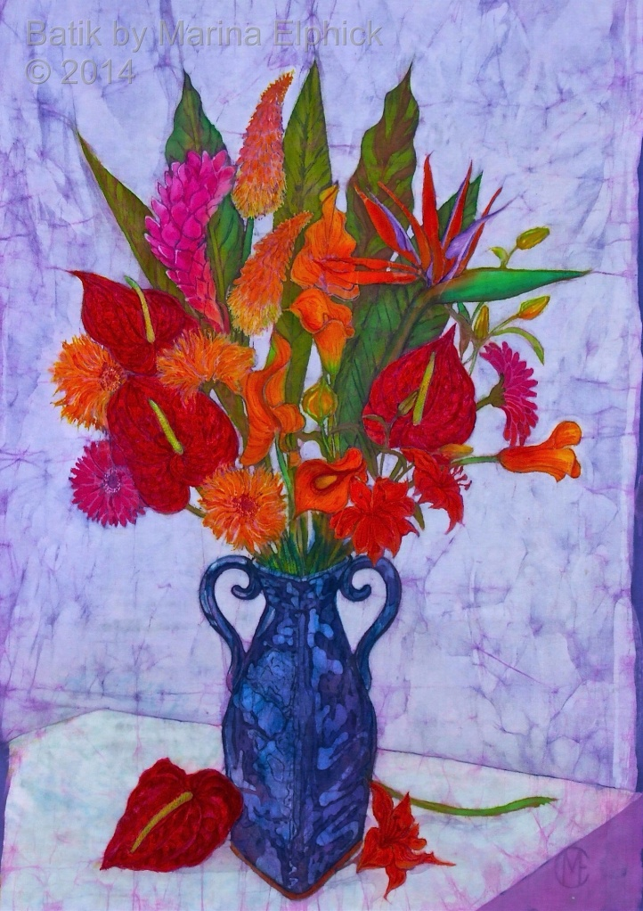Exotic Flowers in home made vase, batik art by Marina Elphick, Uk artist and batik specialist. Flowers in batik.