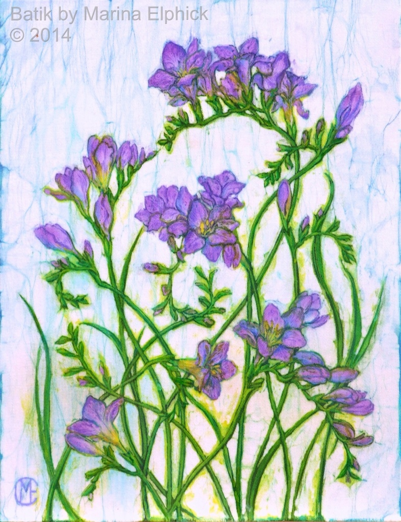Freesias, batik art by Marina Elphick, UK artist specialising in batik. Flower often feature in Marina's batik portraits as symbolism.