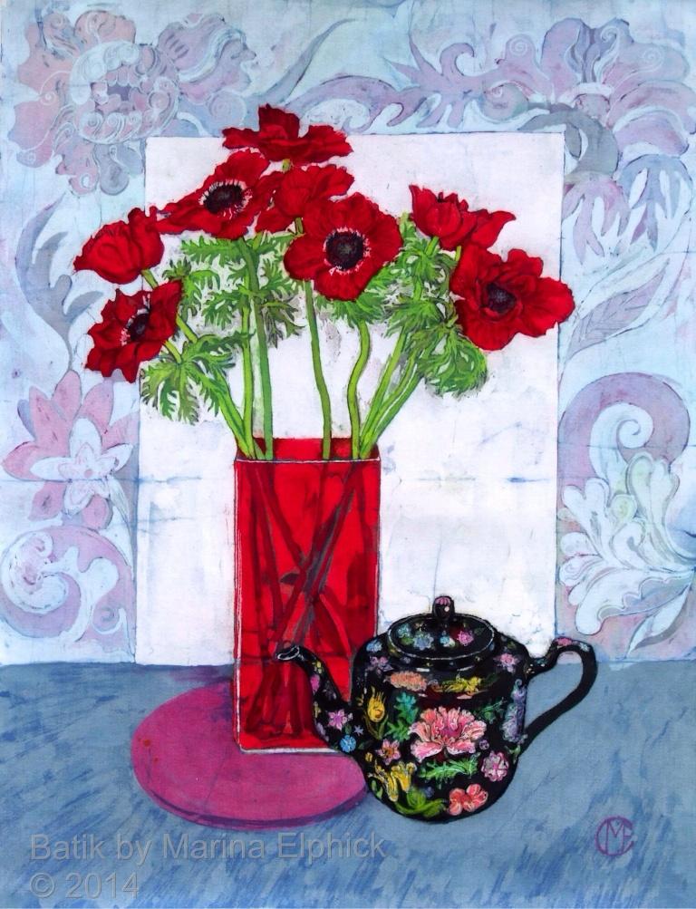 Batik art by Marina Elphick, UK artist specialising in batik. Flowers in batik.