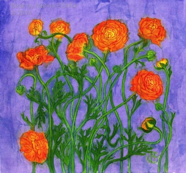 Floral batik art, by Marina Elphick, UK artist specialising in batik. Batik flowers.