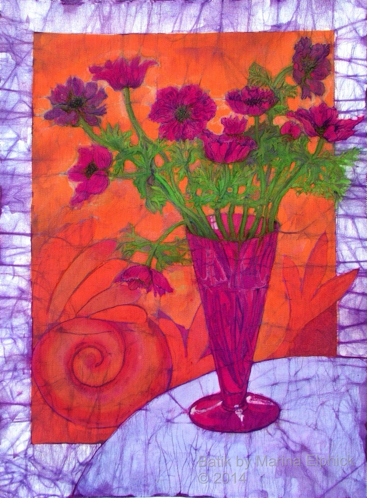 Batik art by Marina Elphick, UK artist specialising in batik. Flowers in batik art.