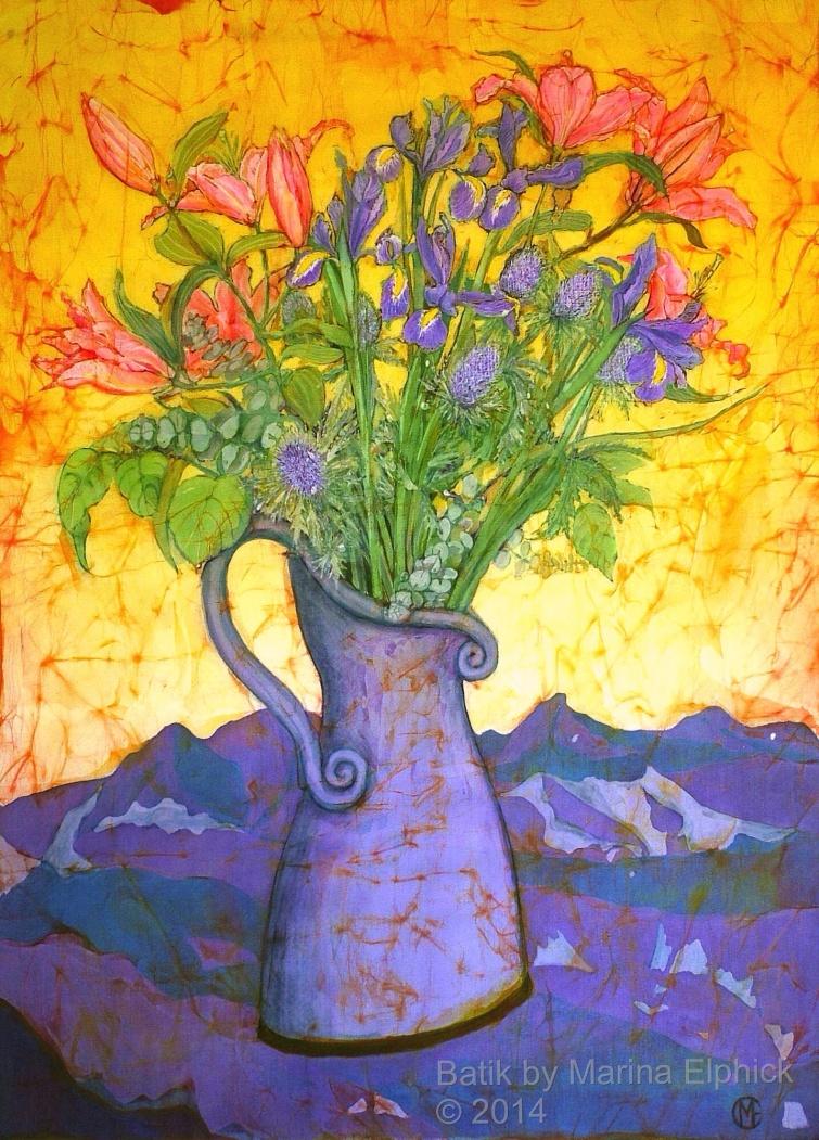 Floral batik painting by Marina Elphick, UK artist specialising in batik portraits, flora and fauna. flowers in batik.