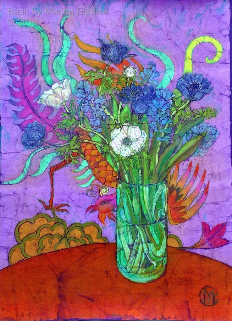Floral batik painting by Marina Elphick, UK artist specialising in batik portraits, flora and fauna. Batik art Flowers..