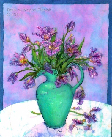 Floral batik painting by Marina Elphick, UK artist specialising in batik portraits, flora and fauna. Batik Art. Flowers in art.
