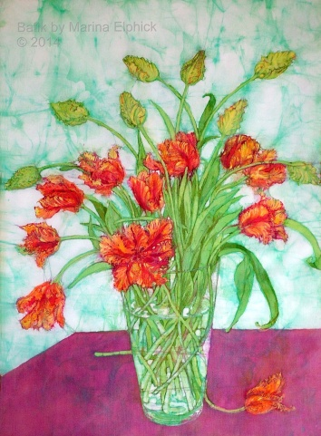 Floral batik art by painter Marina Elphick, UK artist specialising in batik. Batik flowers.
