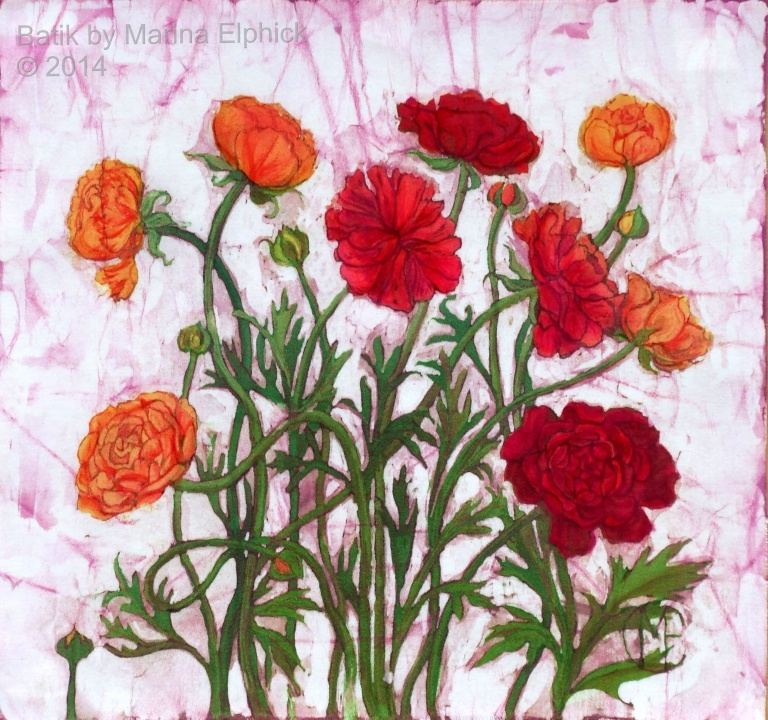 Floral batik painting by Marina Elphick, UK artist specialising in batik portraits, flora and fauna. Flowers in batik. Batik art by Marina.