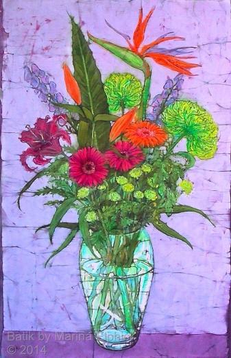 Floral batik art by Marina Elphick, UK artist specialising in batik portraits, flora and fauna.Batik flowers.