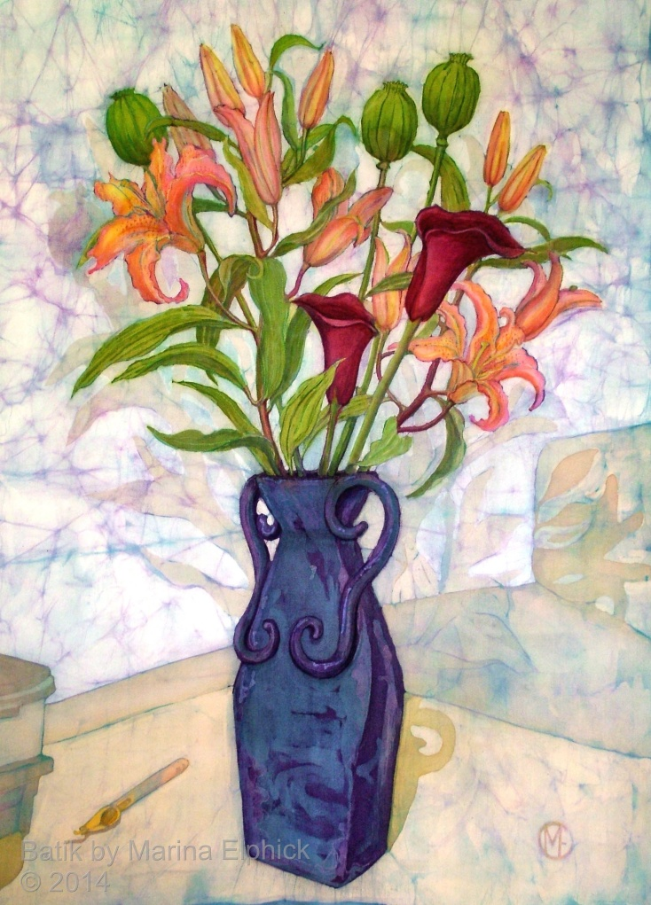 Floral batik painting on cotton by Marina Elphick, UK artist specialising in batik, portraits, flora and fauna. Batik flowers.
