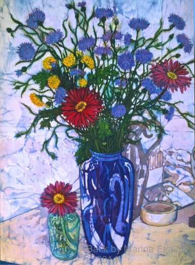 Cornflowers, batik art by Marina Elphick, UK artist specialising in batik. Batik flowers.
