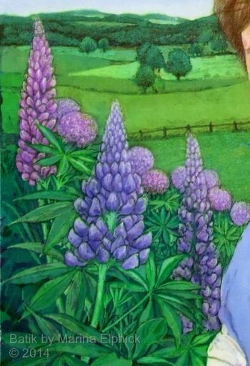 Floral batik art painting by Marina Elphick, UK artist specialising in batik , portraits, flora and fauna, batik flowers.