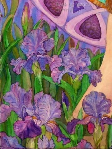 Floral batik art by Marina Elphick, UK artist specialising in batik , portraits, flora and fauna, batik flowers.