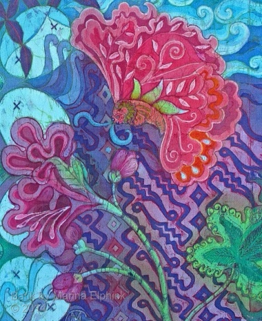 Floral batik painting by Marina Elphick, UK artist specialising in batik portraits, flora and fauna.Parang flowers batik art.