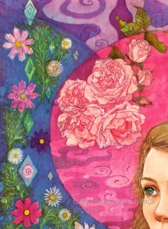 Floral detail of batik art by Marina Elphick, UK artist specialising in batik portraits, flora and fauna, batik flowers.