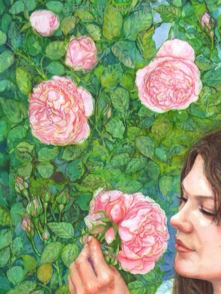 Floral detail of batik art by Marina Elphick, UK artist specialising in batik portraits. flower batiks.