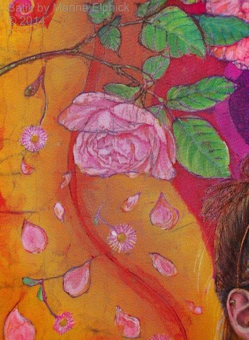 Floral detail of batik art by Marina Elphick, UK artist specialising in batik portraits, flora and fauna. Batik flowers.