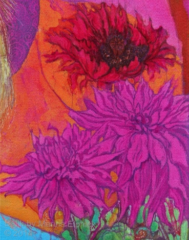 Floral detail of batik by Marina Elphick, UK artist specialising in batik portraits, fora and fauna. Batik flowers.