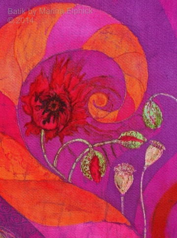 Floral detail of batik art by Marina Elphick, UK artist specialising in batik, portraits, flora and fauna. Batik flower..
