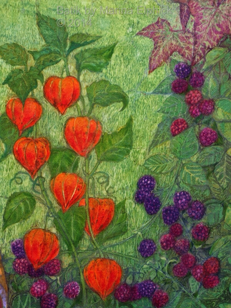 Floral detail of batik art by Marina Elphick, UK artist specialising in batik portraits, flora and fauna. Batik flowers.