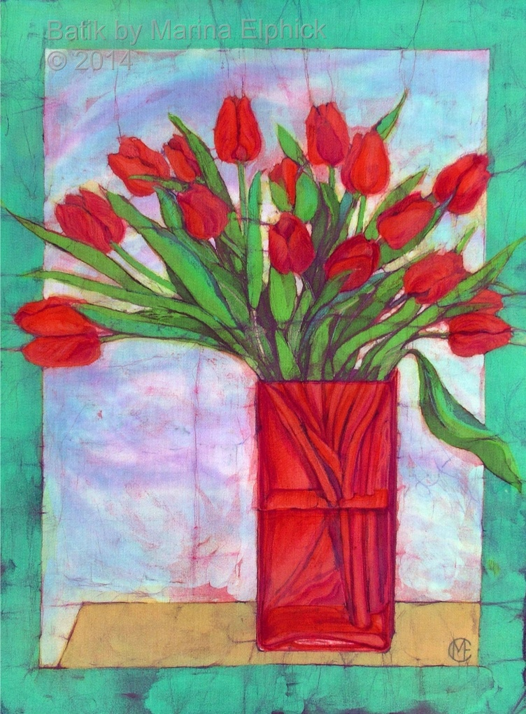 Tulips, batik art by Marina Elphick, UK artist specialising in batik. Flowers in art, batik flower painting.