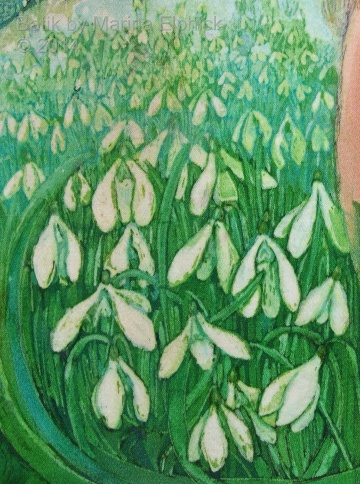 Floral detail of batik art by Marina Elphick, UK artist specialising in batik, portraits, flora and fauna.