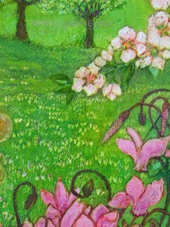 Floral detail of batik by Marina Elphick, UK artist specialising in batik, portraits, fora and fauna.
