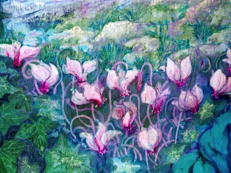 Floral detail of batik by Marina Elphick, UK artist specialising in batik, portraits, fora and fauna. Flowers in batik.
