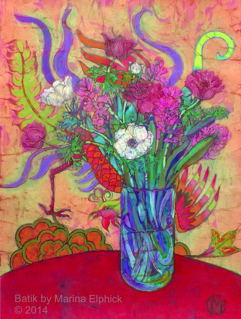 Floral batik by UK artist Marina Elphick. Batik art.