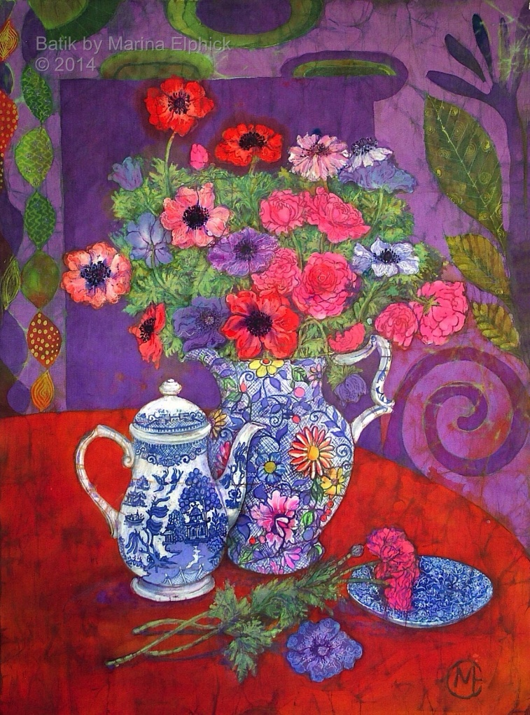Floral batik by UK artist Marina Elphick. Flowers feature in many of Marina's batik portraits. Flower batik