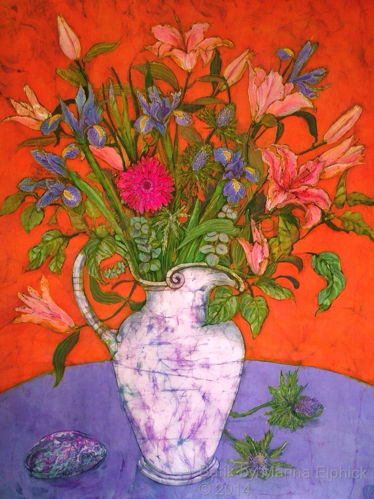 Floral batik art by Marina Elphick. Still life with flowers in batik. Artist specialises in batik portraits. Batik flowers.