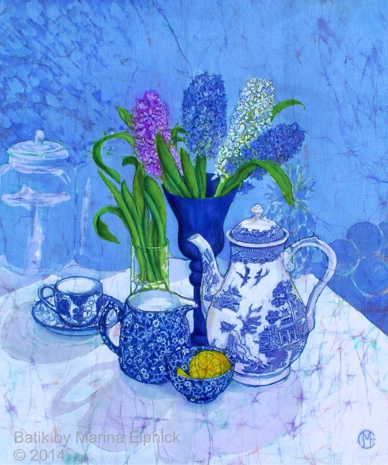 Floral batik art by UK artist Marina Elphick. Flowers in batik are popular, portraits in batik can be commissioned.