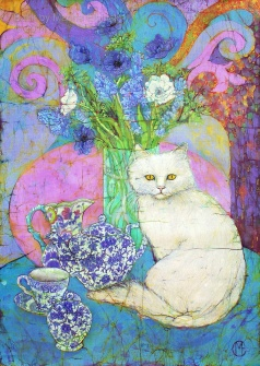 Floral batik with cat by UK batik artist Marina Elphick, specialist at batik portraiture and other figurative artwork.