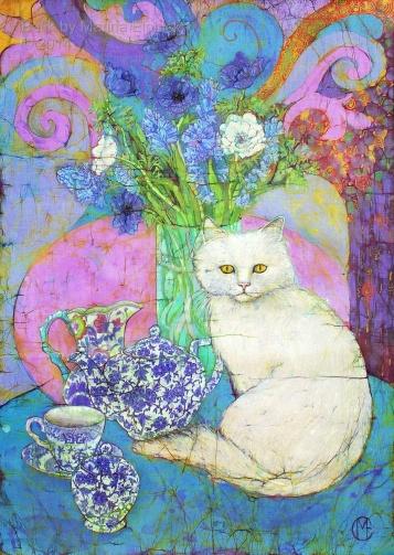 Floral batik with cat by UK batik artist Marina Elphick, specialist at batik portraiture and other figurative artwork.