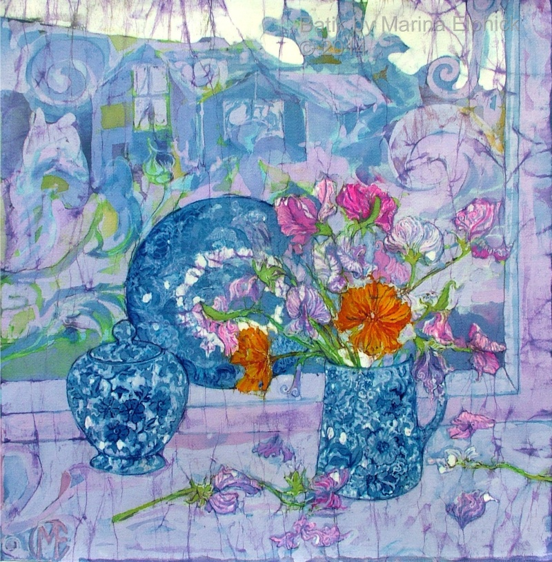 Sweet peas, batik art by Marina Elphick, UK artist specialising in batik. Batik flowers, flowers in art.