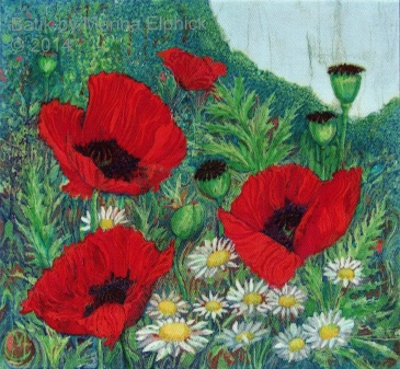 Poppy Garden by Marina Elphick, UK artist specialising in batik. Flowers in batik.