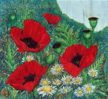 Poppy Garden by Marina Elphick, UK artist specialising in batik. Flowers in batik.