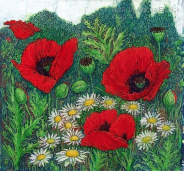Batik art by Marina Elphick, UK artist specialising in batik. Flowers in batik art.