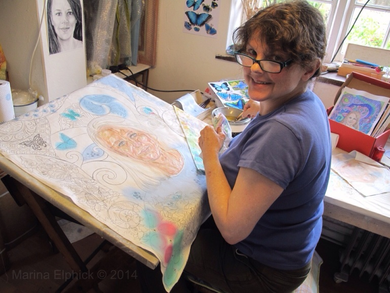 Marina Elphick, batik artist specialising in figurative work and portraiture in batik.