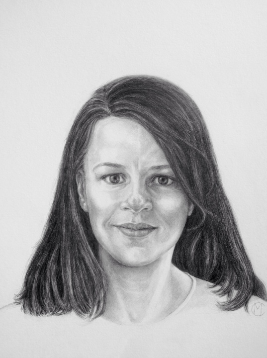Pencil drawing by Marina Elphick, who captures a realistic likeness of her model.