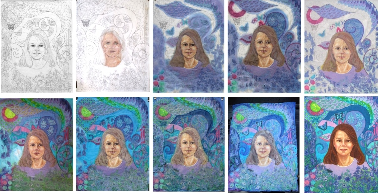 Batik in progress, a portrait of the artist's sister.